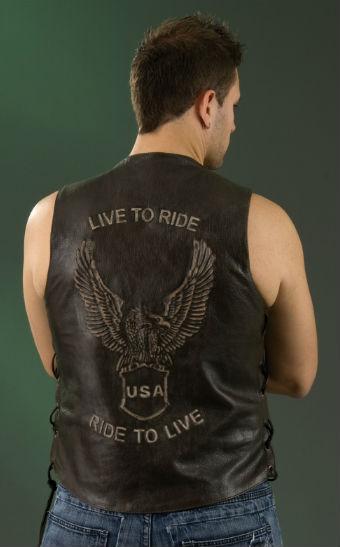 Men's Embossed Leather Vest ML 1346RT