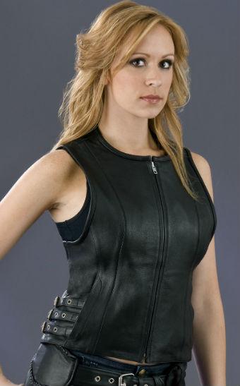 Ladies Side Buckles Leather Vests