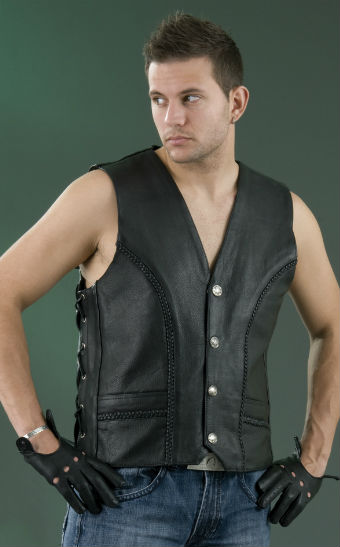 Men's Braibed Leather Vest ML 1359N