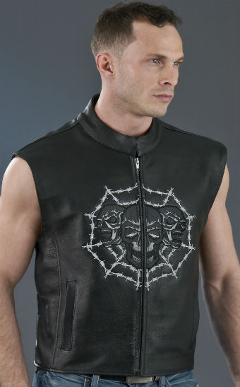 Men's Skull Leather Vest ML 1953C, Front