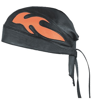 LEATHER BANDANA SKULL CAP, ORANGE FLAME