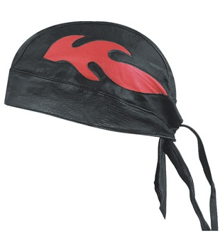 LEATHER BANDANA SKULL CAP, RED FLAME